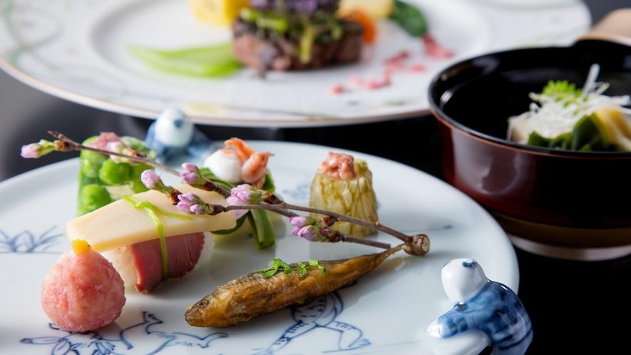 特選和魂洋才(2021年3月・4月 和洋折衷)うすい豆茶巾 山菜白子和え 鯛塩辛など