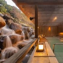 露天風呂『月明かりの湯』と天空の滝(昼)