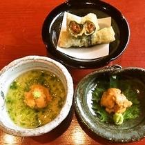 【紫ウニ3種】2017年 期間限定!紫ウニのお造里、紫ウニとアオサの茶碗蒸し、ウニの天ぷら♪