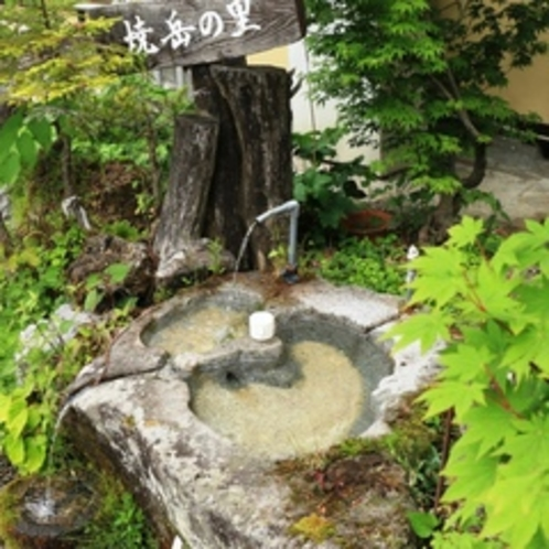 【館外】奥飛騨の天然水で喉を潤してください。