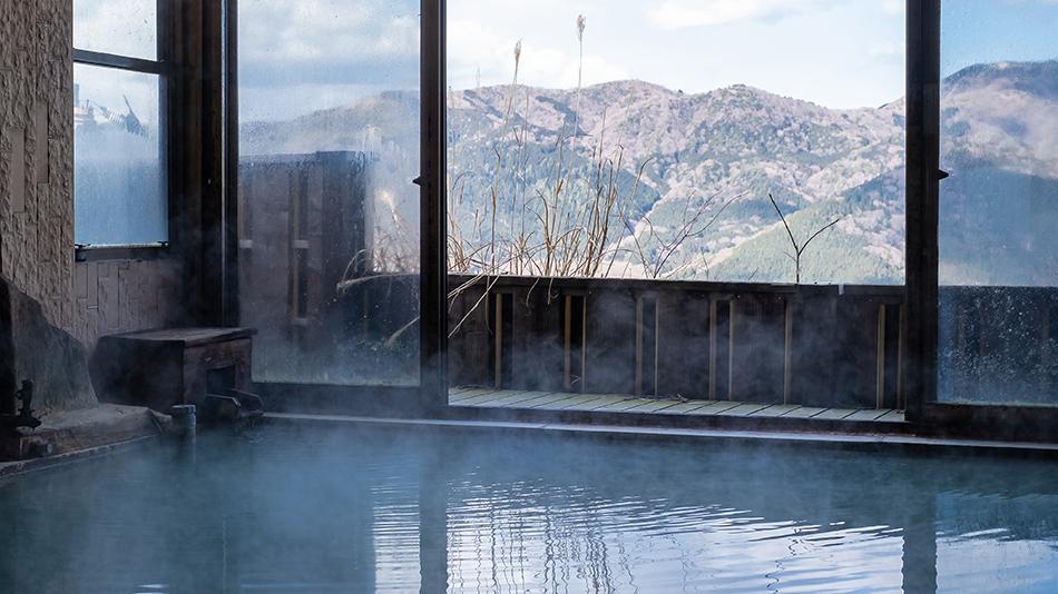 「大浴場(松風、さくら)」豊富な湯の花をお愉しみください。