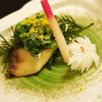 *【夕食一例】桜鯛若草焼き・葉地神・あちゃら大根