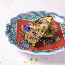 *お夕食一例(強肴)/大葉味噌の香りが香ばしい水茄子田楽。美味しい日本酒とご一緒に。