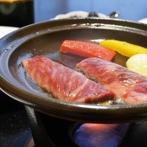 【上州牛の陶板焼き】