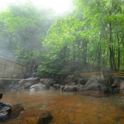 露天温泉岩風呂:朝靄イメージ