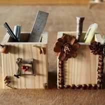 【木工体験】ホテルの隣のフォレストアイでは簡単な木工体験が楽しめます。(ペン立て作りイメージ)