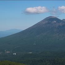 【岩手山とホテル(左下の凸)】ホテル周辺は自然にあふれています。
