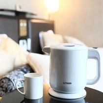 【電気ケトル】温かいお茶・コーヒーが飲めるよう、ご用意しております。