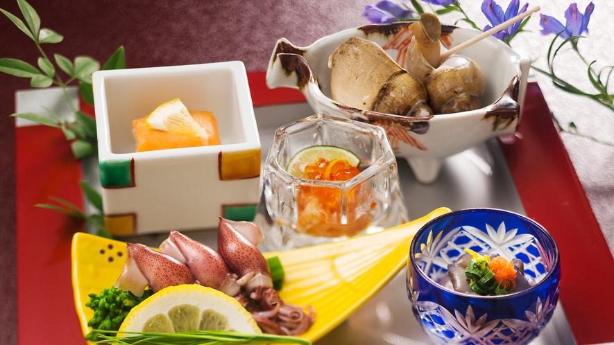 【ホタルイカ】【バイ貝】【鱒鮨】♪富山の名物を贅沢に詰め込んだ季節の前菜♪