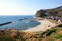 小土肥の砂浜が目の前です。海水浴にも便利です。