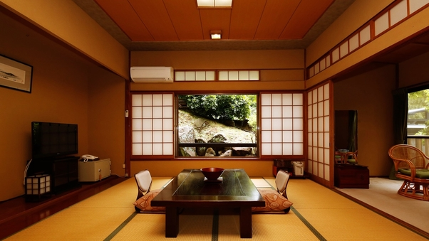 【禁煙】◇広縁付和室10畳◇源泉かけ流し温泉・古代檜内風呂