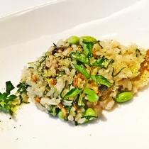 【温菜皿】鮎と季節野菜のリゾット