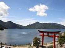 ホテルから見た中禅寺湖