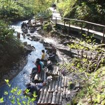 【大湯沼川天然足湯】当館から徒歩約5分の癒しスポット。