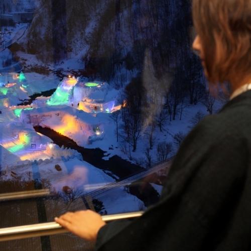 氷瀑まつり会場が見える部屋もあります