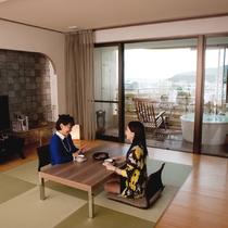 【露天風呂付客室】ナチュラルスイートは自然な風合いを重視したお部屋
