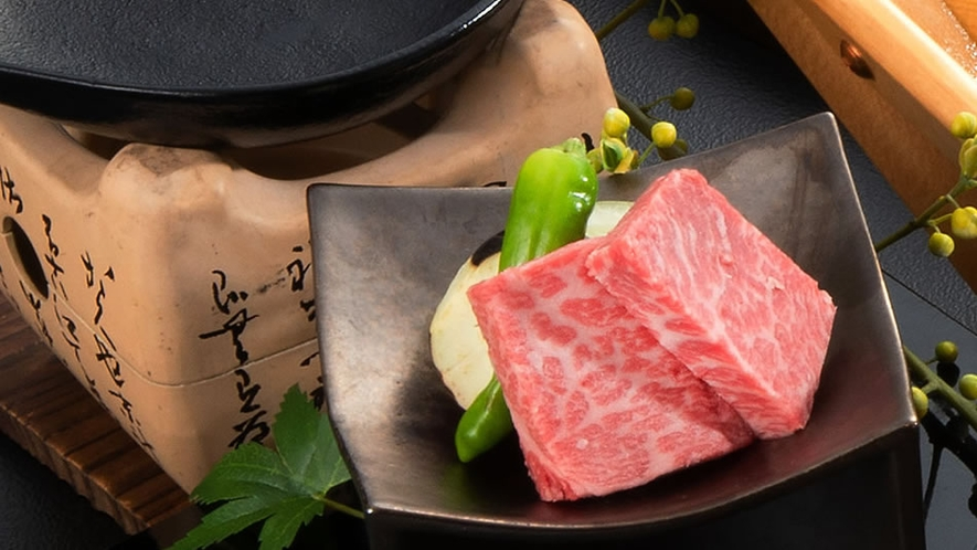 味の宿みち潮厳選A5特選和牛トモサンカク陶板焼き