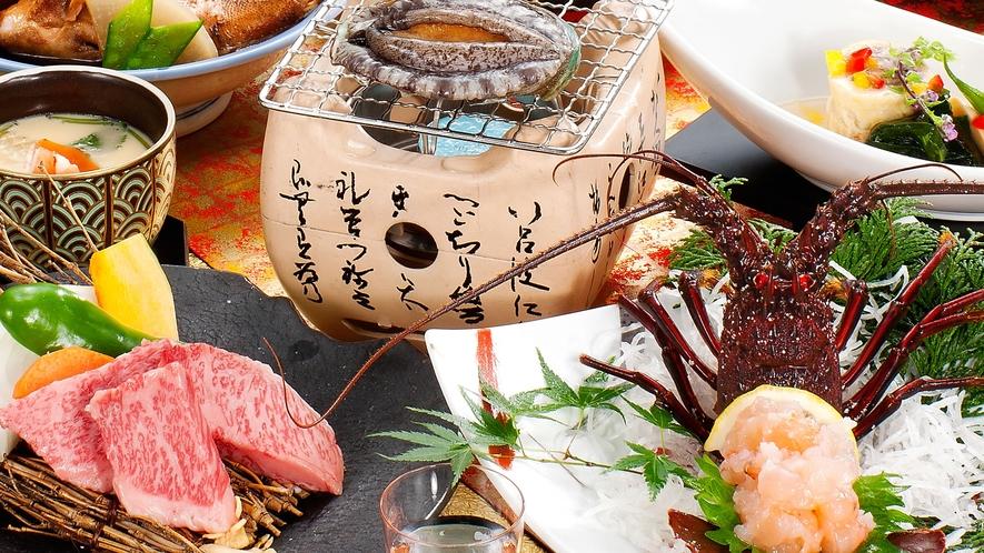松阪牛とA5等級トモサンカク食べ比べ、伊勢えびお造り&あわび踊り焼き付き