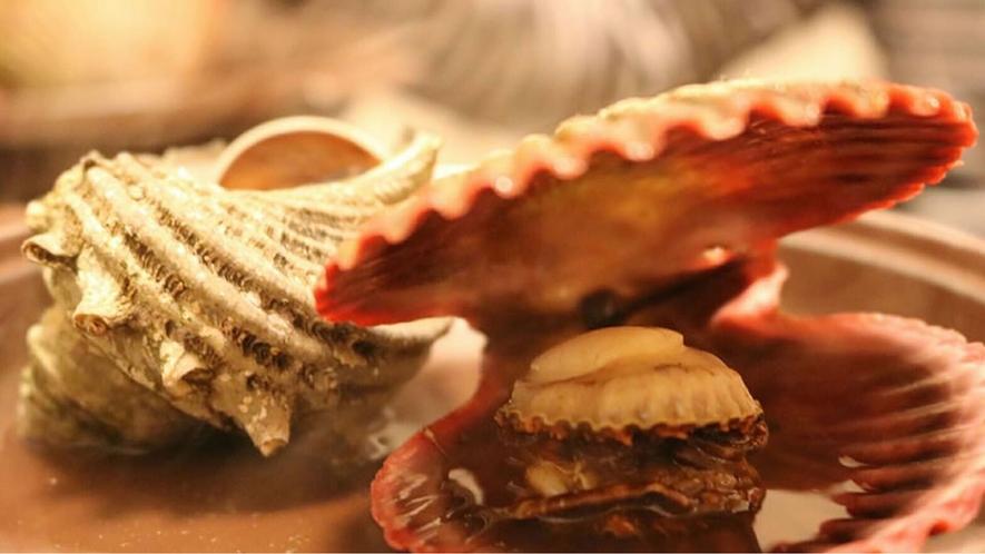 焼き貝 さざえとひおうぎ貝