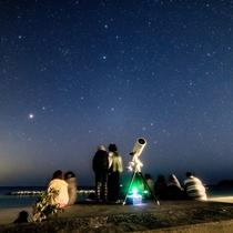 星のソムリエによる星空案内 当館の目の前の千鳥ヶ浜にて