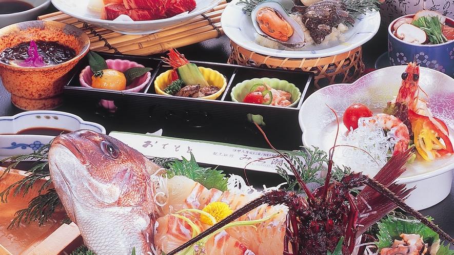 基本【花プラン】伊勢えび舟盛り付プラン料理例