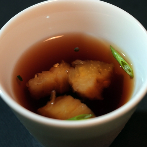 焼きナスのコンソメスープ