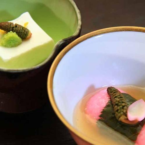 夕食一例_小鉢_なかなか口のすることのない「ミルク豆腐」。まるでデザートのような濃厚な甘みです♪