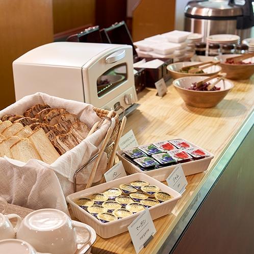 【朝食ハーフブッフェ】パンの種類もいくつかご用意しております!