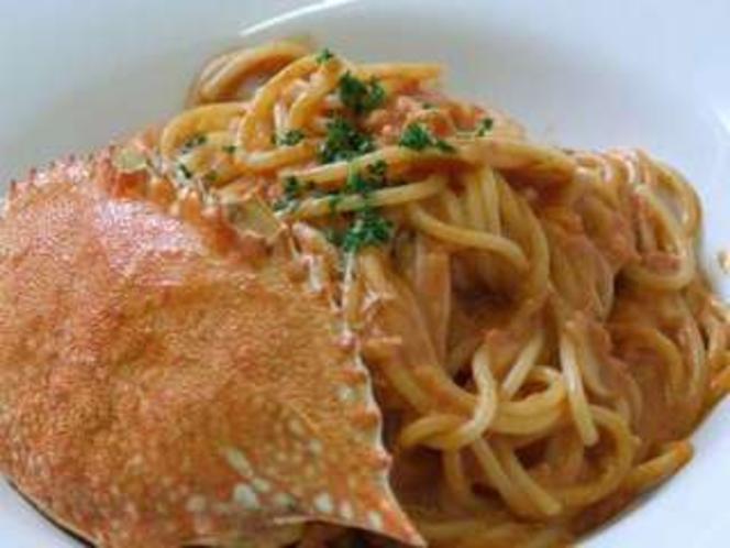 渡り蟹のトマトクリームソース(田沢湖ビールレストラン)