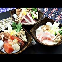 ◆【ご夕食一例・冬季】海鮮鍋・鴨鍋・豆乳鍋