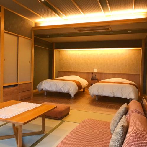 ■準特別室 清瀬■10畳+6畳(ベッドルーム)檜風呂(半露天風呂)付き