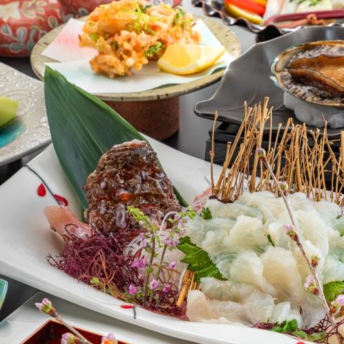 【夕食グレードUP-優会席(Yui)-春イメージ】高級魚<虎魚>×黒毛和牛×鮑を贅沢に堪能。