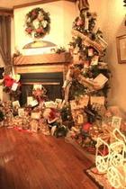本物の暖炉の前はクリスマスがいっぱい