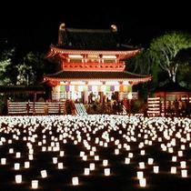 薬師寺別院 潮音寺「万灯会」約一万灯の献燈で境内は幽玄な世界となります。