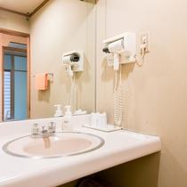 【洗面所(10畳部屋タイプの一例)】アメニティやドライヤー完備