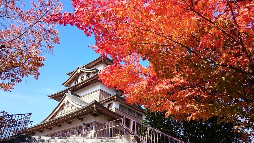 高島城の紅葉 諏訪の浮城や島崎城ともよばれています