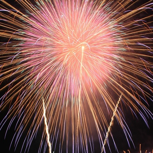 夏は毎日諏訪湖花火大会!15分間800発の花火をお楽しみください。