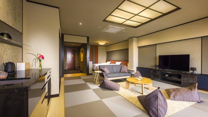 303【TSUMUGI~紡~】和モダン105平米には寝室が2カ所、ベッド4台。大切な方々との旅に