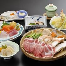 *ご夕食(料理一例)/長野の美味しい食材をジュージュー陶板焼♪