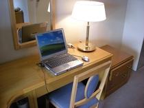 有線LANとデスク完備