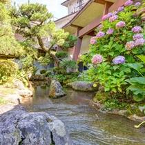 *中庭(日本庭園)/川が流れる日本庭園では四季折々の景色を楽しむことができます。