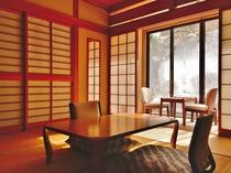 西館10畳ひのき風呂(非温泉)・トイレ付きの客室【冬の景色】