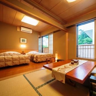 和洋室【和室6畳+ツインベッド】バストイレ付き