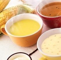 □朝食レストラン花茶屋にて・・□コーンスープ・クラムチャウダー・ビーフコンソメスープで体もぽかぽか~