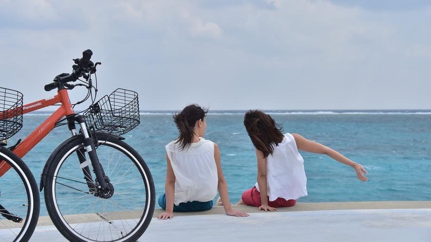 【レンタサイクル】電動アシストなら楽々サイクリングを楽しめます。
