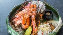 冬の料理一例:焼物-ズワイ蟹、蟹味噌、ノド黒弓浜焼、菊かぶら