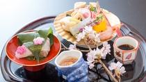 春の料理一例:御造り-タイ桜葉〆、他季節旬魚盛合せ