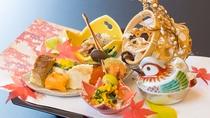冬の料理一例:前菜【吹きよせ】車海老、銀杏、紅葉麩、地穴子小袖寿司、帆立菊花和え-のコピー
