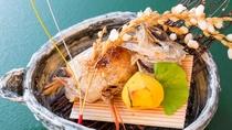 秋のお料理一例:焼物ノドグロ松茸包み焼 新栗旨煮