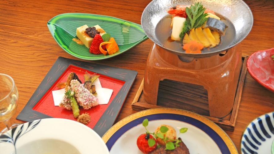 【夕食の一例】雅会席:新鮮な食材の味をご堪能いただけます。